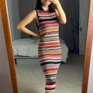 Topshop Turtleneck Multi Color Striped Dress